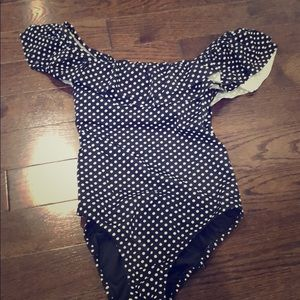 Jcrew polka dot ruffle bathing suit